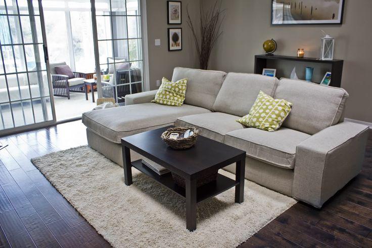 Kivik Couch Dark Floors Light Rug Coffee Table