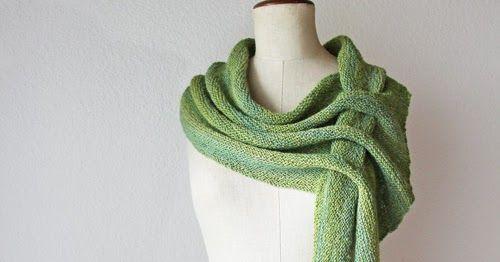 pennant, shawl, handspun, handknit, green, scarf