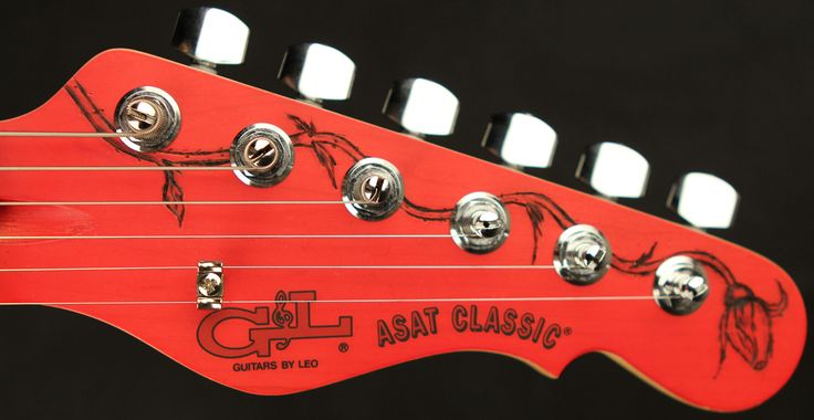 """ASAT Classic """"The Roses"""" headstock detail."""