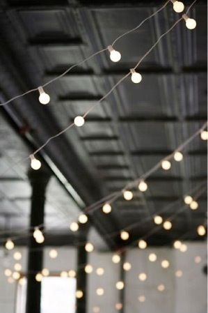 white string lights in side on ceiling or walls. could get a bunch after xmas