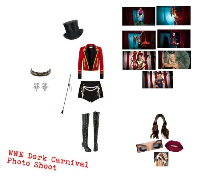 """WWE Dark Carnival Photo Shoot"" by nikki-usmc92 ❤ liked on Polyvore featuring River Island, Yves Saint Laurent, Jayson Home, Smashbox, WWE, Charlotte Russe and DANNIJO"
