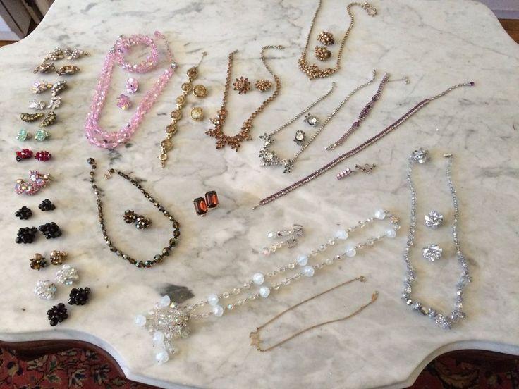 vintage lot of 58 pieces earrings bracelet cufflinks necklace crystal Sherman