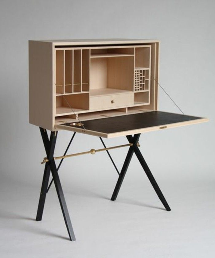 bureau pliable ikea en bois clair