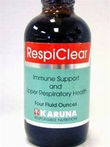 Karuna - RespiClear 4oz. by Karuna. $36.90. Karuna - RespiClear 4oz.. RespiClear 4 oz  Immune Support and Upper Respiratory Health  Serving Size: 1 Teaspoon Servings Per Container: 24  Amount per 1 Teaspoon: Vitamin A (palmitate) 1000 iu Vitamin C (magnesium aspartate) 500 mg Andrographis Paniculata Leaf 1000 mg Linden Flower 400 mg Elder Fruit 400 mg Ginger Rhizome 400 mg Echinacea Leaf 300 mg Echinacea Root 300 mg Eucalyptus Globulus .25 ml  Other Ingredient: glyceri...