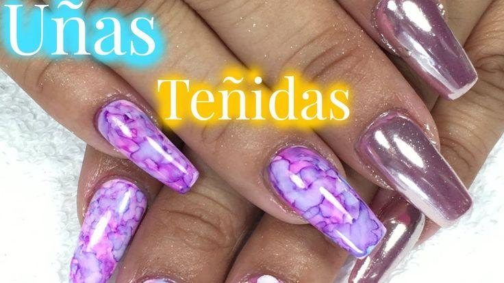 UÑAS CROMADAS Y TEÑIDAS/ TIE DYE NAILS