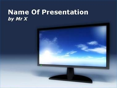Television Screen with Sky Skin Powerpoint Presentation Template
