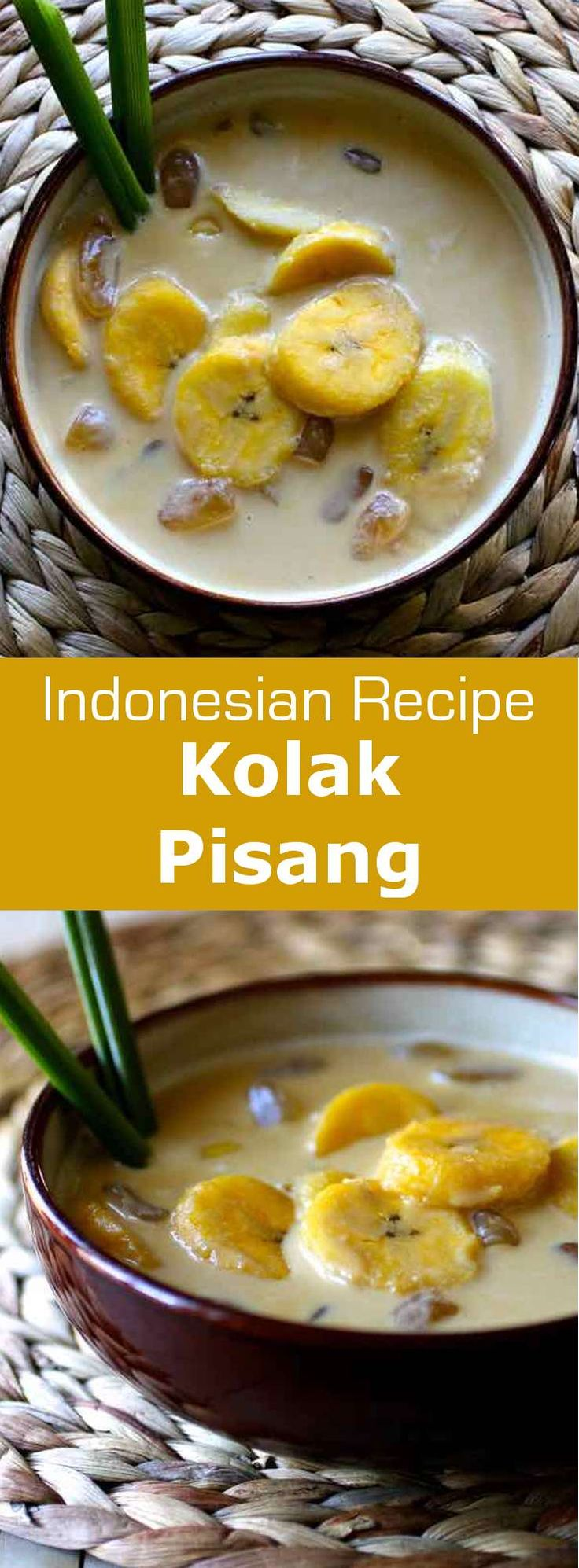 Kolak is an Indonesian dessert made with palm sugar, coconut milk and pandanus leaf. When banana is added, it is called kolak pisang. #Indonesia #IndonesianCuisine #IndonesianFood #AsianCuisine #196flavors