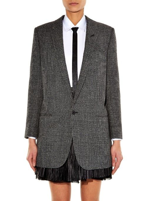 Saint Laurent Hound's-tooth single-breasted jacket