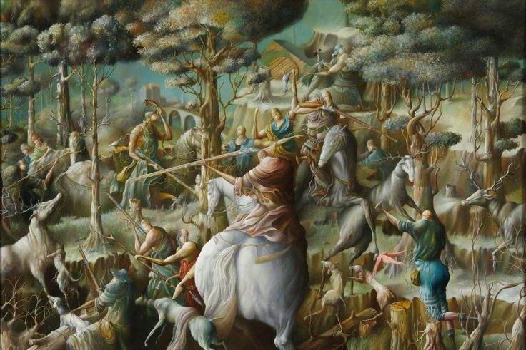 """2000 year. """"Fragment of a big hunting""""  Oleg Osipoff Official Site: http://osipoff-art.com/"""