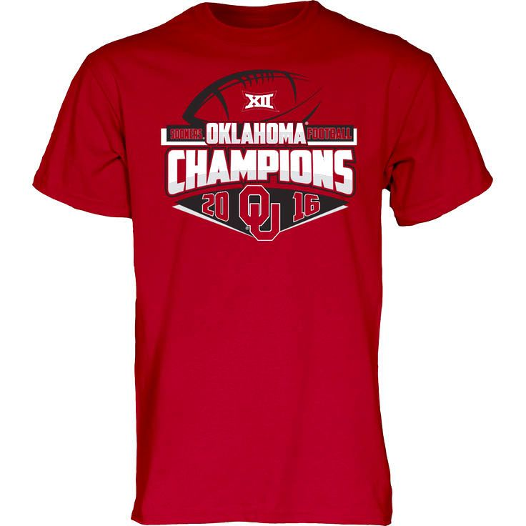 Oklahoma Sooners Blue 84 2016 Big 12 Football Champions Locker Room T-Shirt - Crimson - $17.49