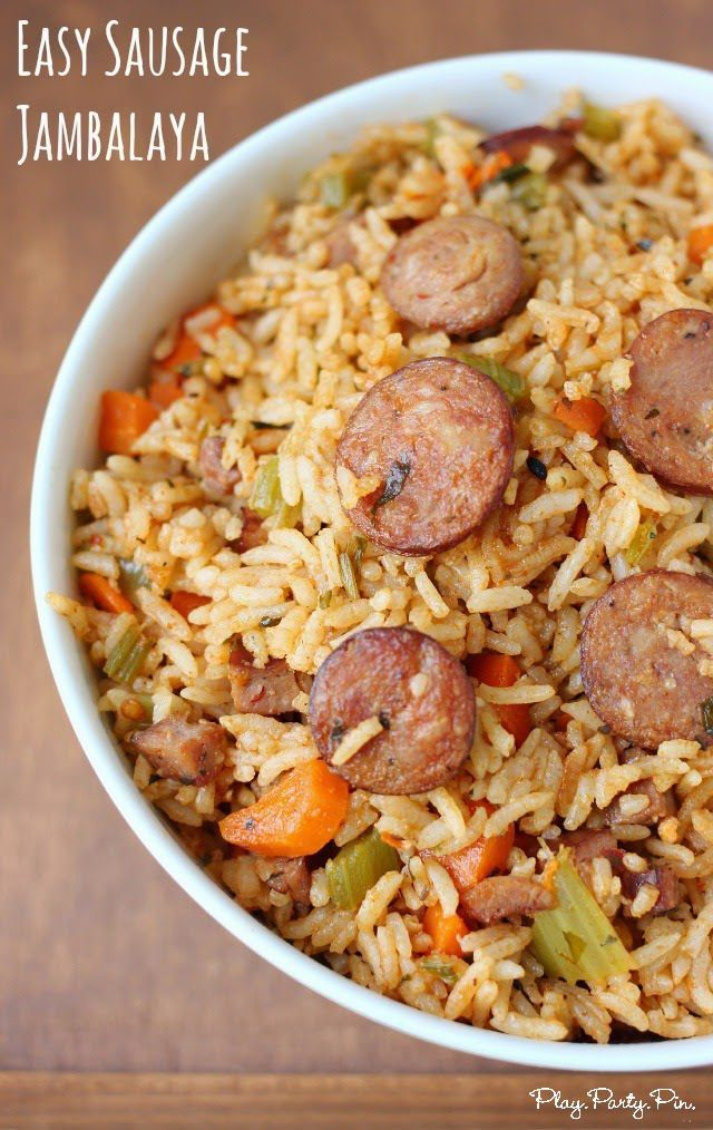 Easy cajun sausage jambalaya recipe from playpartypin.com #BringHillShireHome #ad