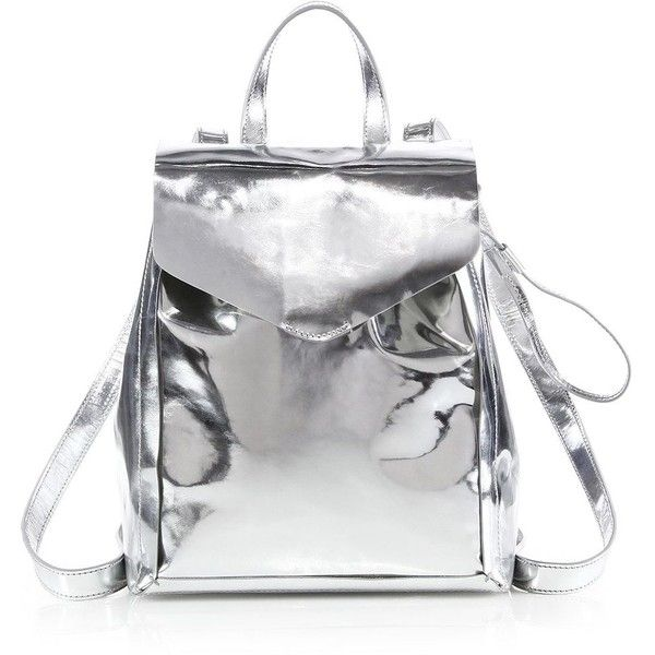 Loeffler Randall Mini Metallic Backpack (585 SGD) ❤ liked on Polyvore featuring bags, backpacks, bolsos, apparel & accessories, silver, genuine leather backpack, miniature backpack, leather backpack, backpacks bags and top handle bag