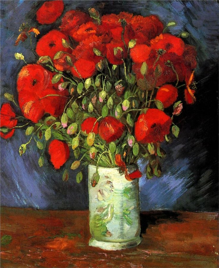 vincent van gogh(1853-1890), vase with red poppies, 1886. oil on canvas, 56.0 x 46.5 cm. wadsworth atheneum, hartford, connecticut, usa