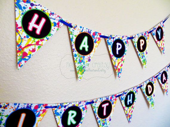 Glow In The Dark Party Happy Birthday Banner / Neon Birthday Banner / Blacklight Party - Print Your Own - INSTANT DOWNLOAD