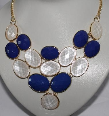 Cobalt and White Bead Necklace