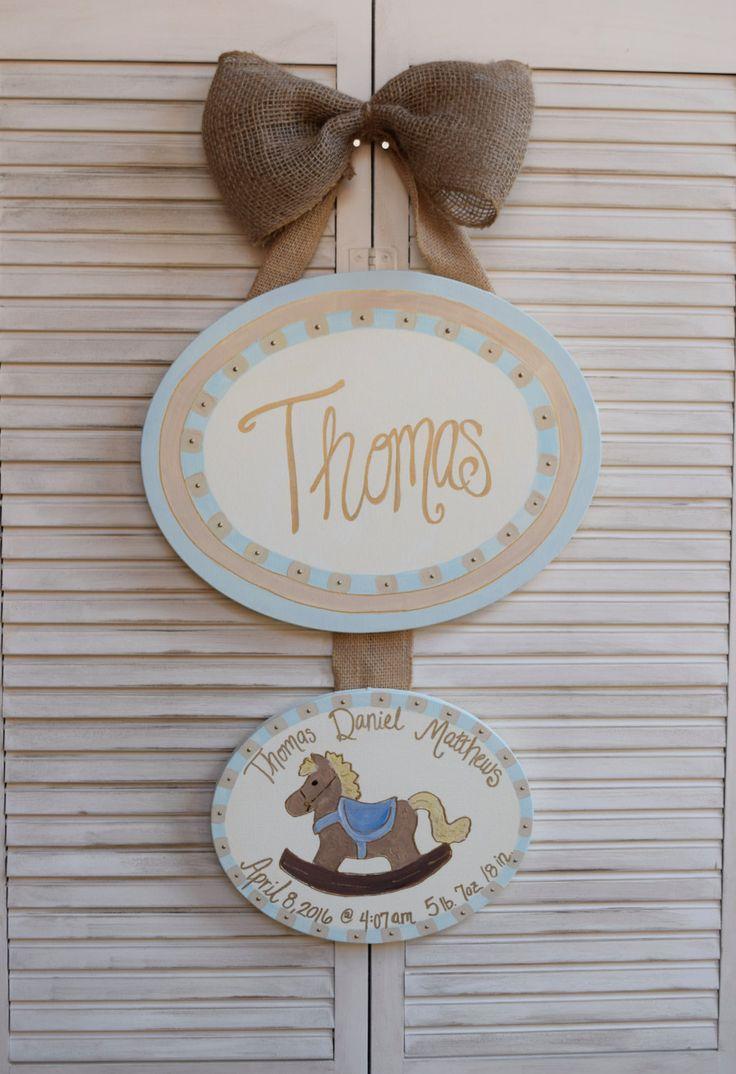 Hospital door hanger, door hanger, nursery art, personalized, baby shower gift, hand painted, gender neutral, boy hanger, hospital door sign by CarouselArtDesigns on Etsy