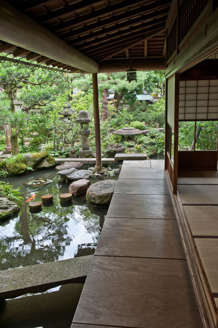 Small is Beautiful in a Kanazawa Garden by japantimes: The porch off the drawing room, with carp enjoying the stillness of a pool in the stream that it overlooks. Image credit: Stephen Mansfield #Garden #Japan #Kanazawa