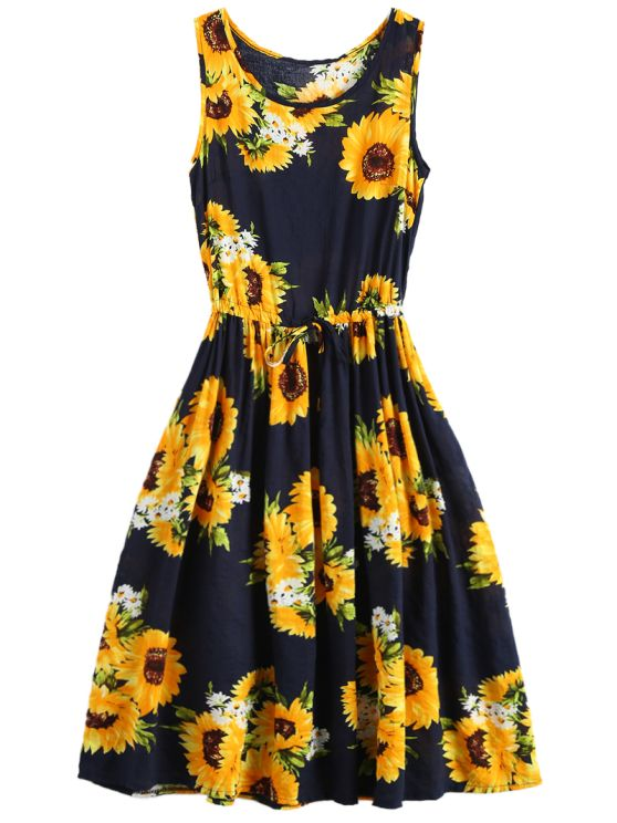Sleeveless Drawstring Waist Sunflower Dress - FLORAL S Mobile
