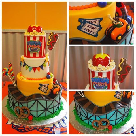 "Cake Boss Roller Coaster Cakes | ... : Close - up details of the ""Collosal Coaster World"" themed VBS cake"