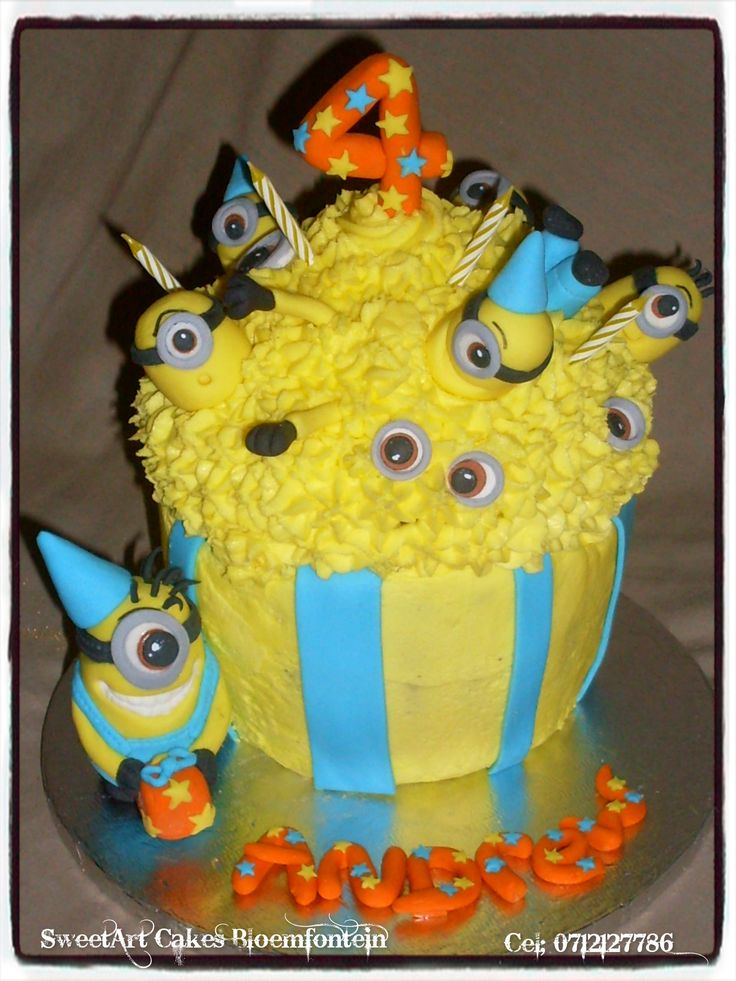 Minion Giant Cupcake For more info & orders, email Sweetartbfn@gmail.com or call 0712127786  Connect with us on Facebook: https://www.facebook.com/SweetArtCakesBfn