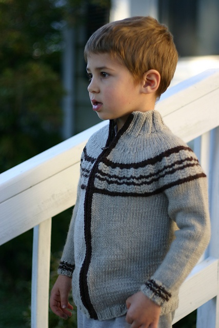 Ravelry: Cole pattern by Helen Rose  stand up collar, zipper behind stripe, band of stripes across front and upper arm