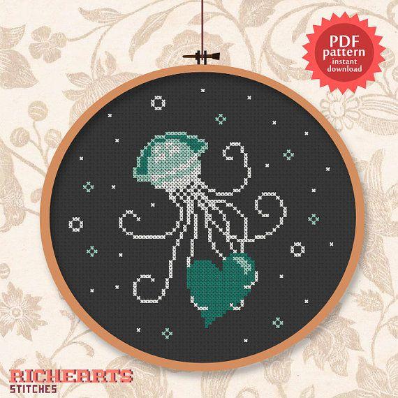 Jellyfish stings heart  PDF cross stitch pattern by Richearts, $3.00