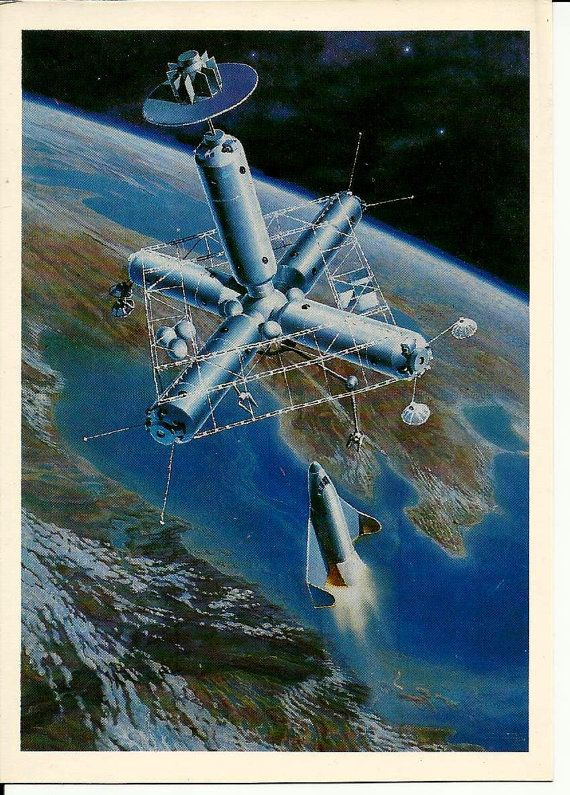 Space station in Cosmos  Vintage Russian Soviet by LucyMarket