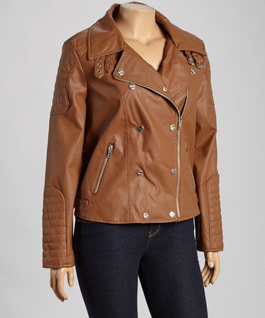 This Brown Double-Breasted Faux Leather Jacket - Plus by Dollhouse is perfect! #zulilyfinds
