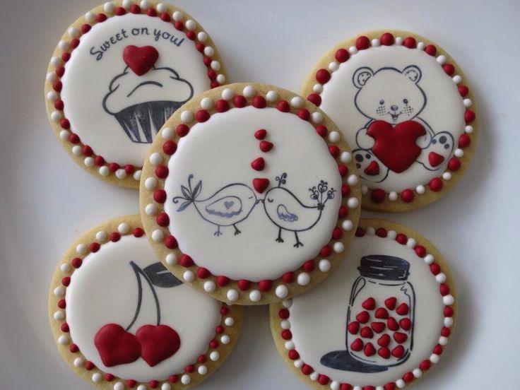 Valentines day stamp cookies