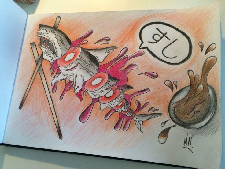 Sushi#Shark#Japanese#Oldschool#Donteatme#NN