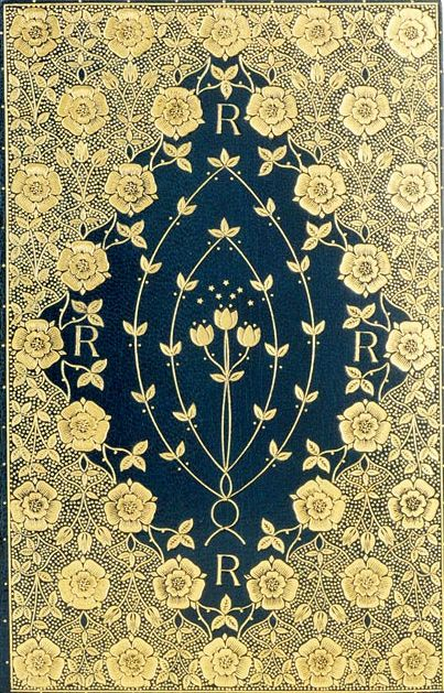Pinner says: T.J. Cobden-Sanderson - fine binding  On: Dante Gabriel Rossetti. Poems. London: F. S. Ellis, 1870  Deep blue goatskin, richly gilt to a floral mandorla pattern, with gilt and gauffered edges, and with endpapers of Morris silk brocade; signed and dated 1891. The delicate floral patterns, here using roses and tulips, are inspired by William Morris' designs but do not slavishly copy or follow them.
