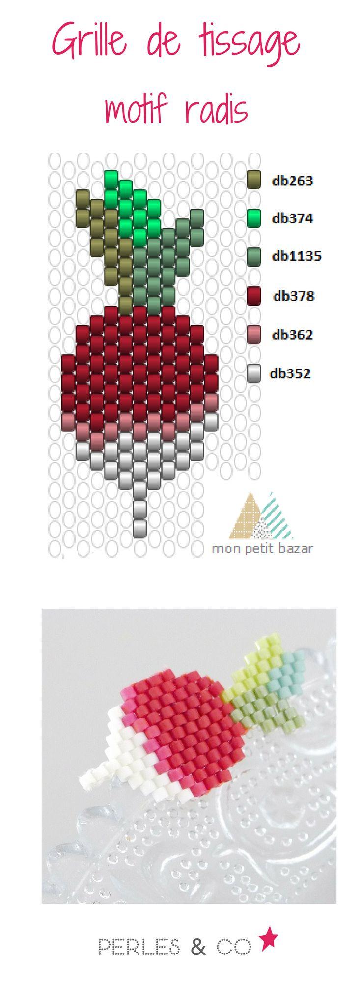 """Vous aimez les radis? Si c'est le cas, cela tombe bien car  Karen du blog Mon petit bazar vous propose de réaliser ce légume, qu'elle appelle """"Pas un radis"""".    Ce motif peut être réalisé avec les techniques brickstitch ou peyote.  Retrouvez le tutoriel sur la boutique en ligne Perles & Co >> https://www.perlesandco.com/Diagramme_radis_en_perles_Miyuki_par_Mon_petit_bazar-s-2771-47.html"""