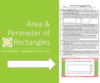 Area and Perimeter of Rectangle Word Problems Worksheet an
