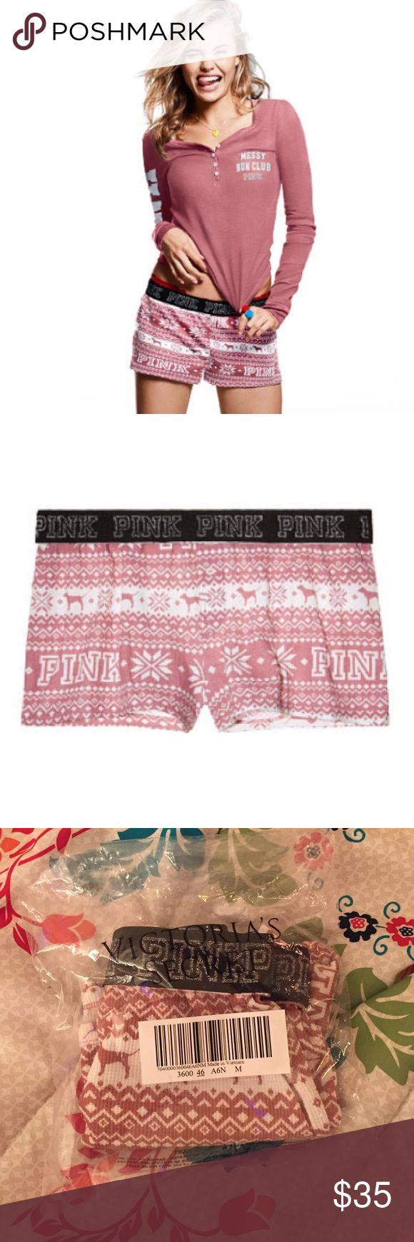 1 day SALE!! VS Pink thermal shorts! NWOT ✨Brand new in bag!✨ It didn't come with tags because i bought it online. Selling because they don't fit. Never worn, only tried on! Color: soft begonia pink. Adorable Christmas theme with cute little PINK dogs and snowflakes. Soft. They do stretch so if you wear a medium or large these would totally fit. PINK Victoria's Secret Intimates & Sleepwear Pajamas