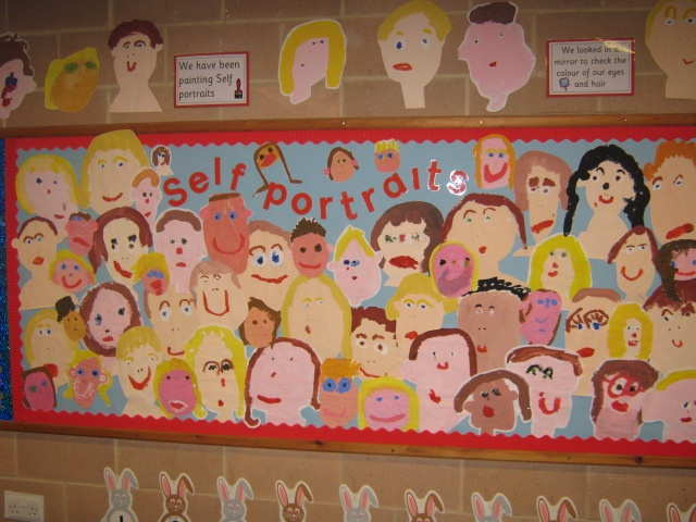 self-portraits as part of Ourselves topic (Reception class)