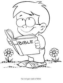 Dibujo de niño con la biblia para colorear ~ Dibujos