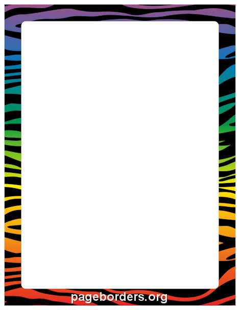 Printable rainbow zebra print border. Use the border in Microsoft Word or other programs for creating flyers, invitations, and other printables. Free GIF, JPG, PDF, and PNG downloads at http://pageborders.org/download/rainbow-zebra-print-border/