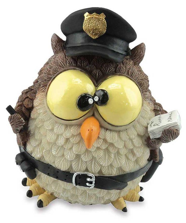 Spaarpot grappige uil politie, Webwinkel het Varaantje