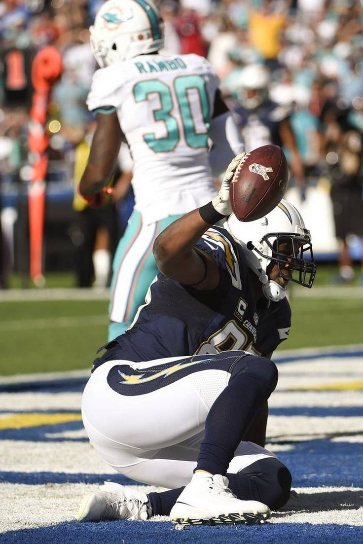 Dolphins vs. Chargers:  31-24, Dolphins  -  November 13, 2016  -     San Diego Chargers tight end Antonio Gates celebrates after scoring against the Miami Dolphins during the first half of an NFL football game in San Diego on Nov. 13, 2016. Denis Poroy AP