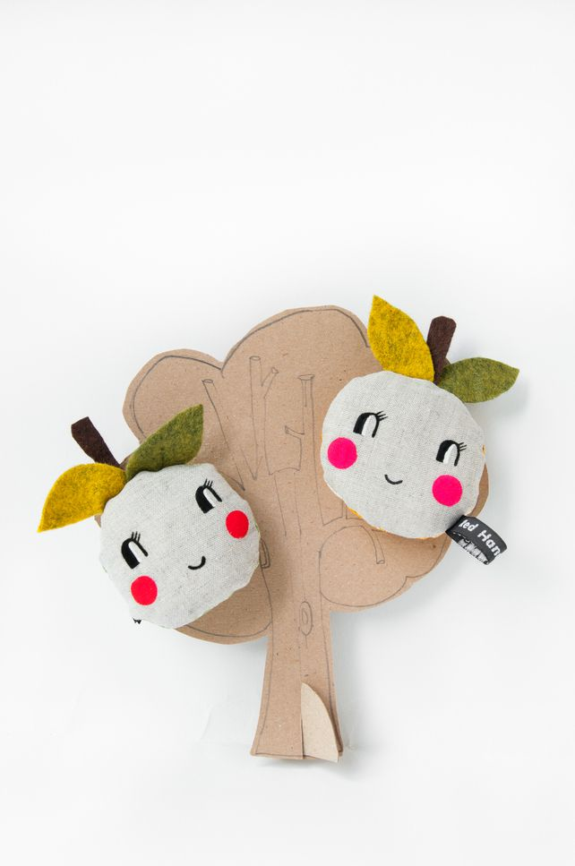 Pocket size  'Happy Apple' soft toy - red cheeks