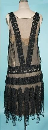 1926 MAGDELEINE des HAYES, 6 Rue de la Paix, Paris Black Net and Lace Flapper Dress