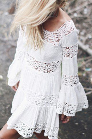 Stylish Round Neck Long Sleeve Lace Spliced Flouncing Women's White Dress