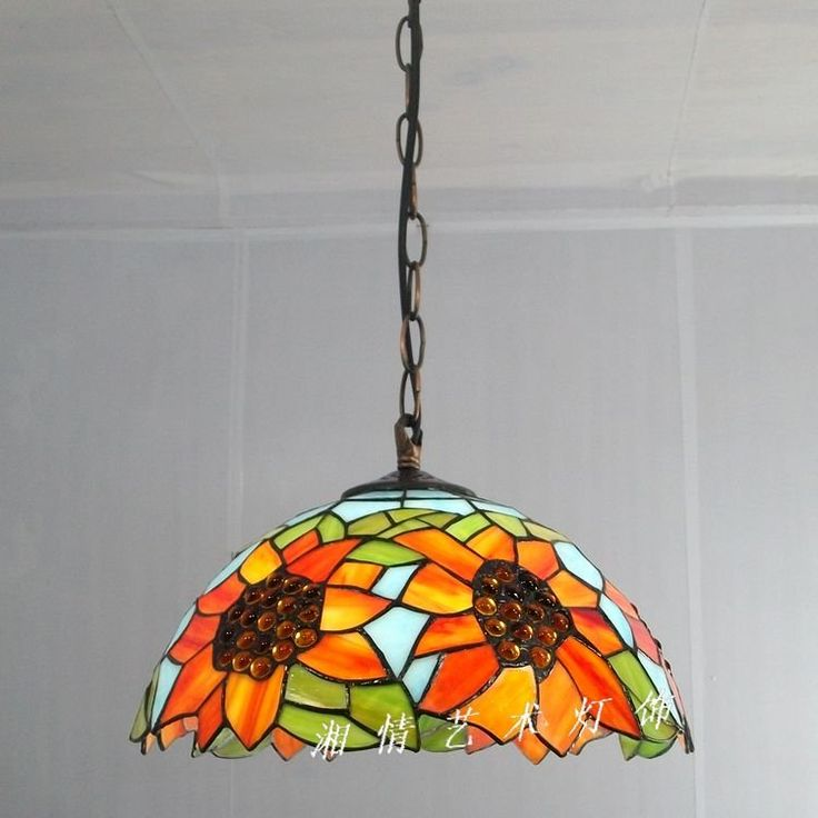 12 Inch Sunflower Pendant Tiffany Lamps Restaurant Table Lighting Pastoral American Bar Cafe Kitchen Glass Lamp