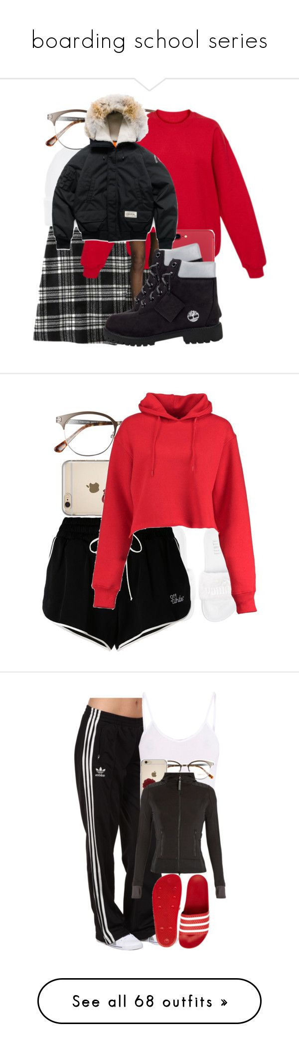 """""""boarding school series"""" by dianna-argons-lover ❤ liked on Polyvore featuring Abercrombie & Fitch, Ralph Lauren, Tom Ford, Hot Topic, Timberland, Canada Goose, Puma, Off-White, Boohoo and adidas Originals"""