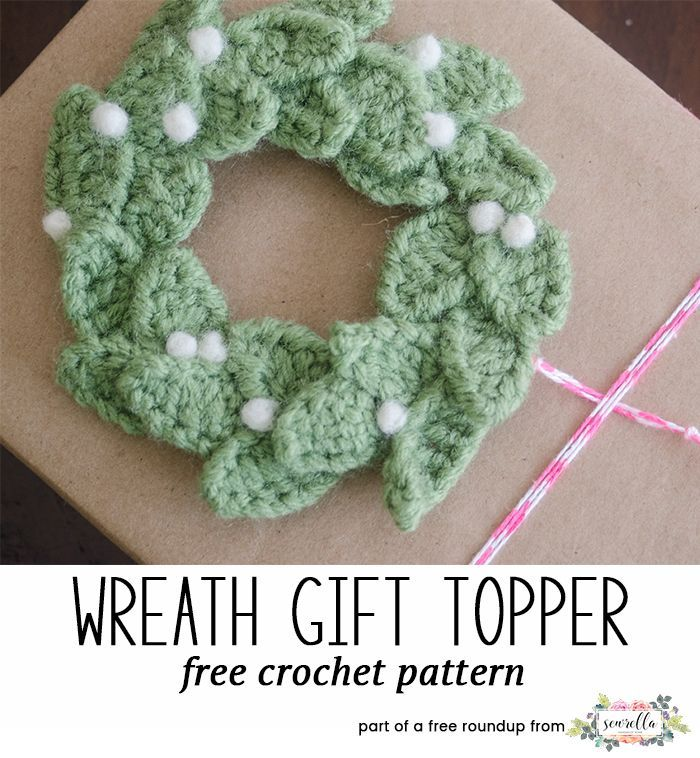 Crochet this easy wreath gift topper from Picot Pals, a free crochet pattern in my festive crochet christmas wreaths roundup!