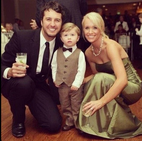 Luke Bryan with his wife and son