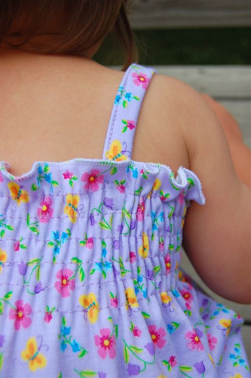 simple tutorial for making a shirred spaghetti strap dress for a child--just change the measurements and you've got an AG dress!