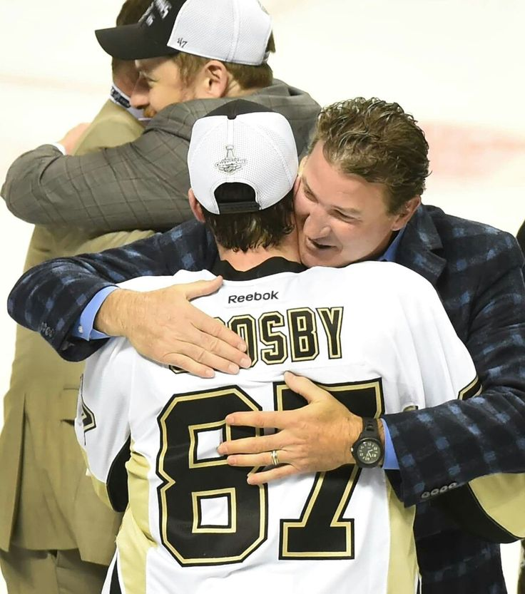 From one hockey legend to another.....Mario Lemeiux and Sidney Crosby; Pittsburgh Penguins 4th Stanley Cup Trophy June 12, 2016