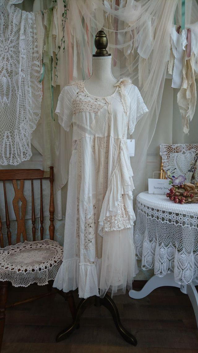 紅茶染パッチワークドレス