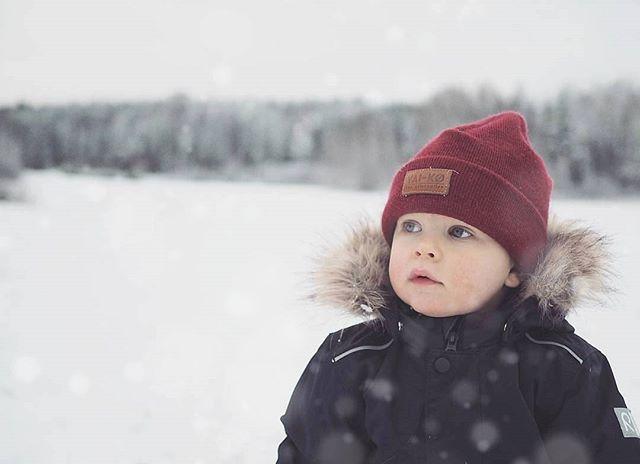 Kids Wool Beanie. Winter Wonderland view.